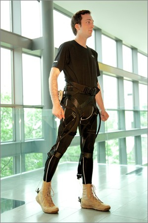 Mobility Enhancing Soft Exosuit: a soft wearable robot made from lightweight and flexible materials.