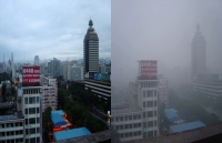 Two photos taken in the same location in Beijing in August 2005. The photograph on the left was taken after it had rained for two days. The right photograph shows smog covering Beijing in what would otherwise be a sunny day.